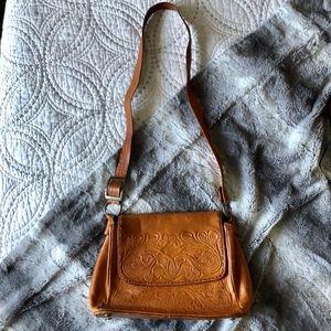 Vintage Cognac Hand Tooled Leather Shoulder Purse